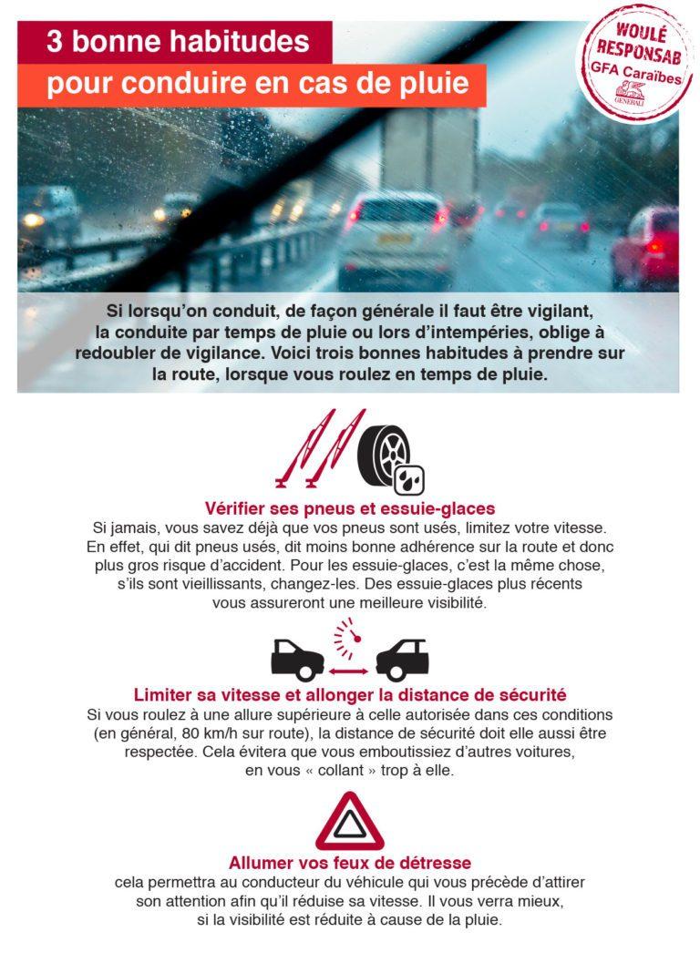 Trois bonnes habitudes pour conduire en cas de pluie